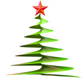 Christmas tree with red star. Made from glass as decorative holiday greeting card Stock Image