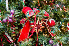 Christmas Tree Red Star and Ribbon Stock Photography