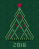 Christmas tree with red stylized star and balls. New year 2016 vintage card. Knitted hand made embroidery seamless pattern Stock Photos