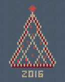 Christmas tree with red stylized star and balls. New year 2016 vintage card. Knitted hand made embroidery seamless pattern Stock Images