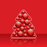 Christmas tree with red traditional balls Stock Images