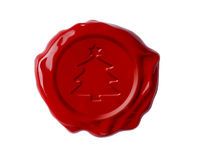 Christmas tree red wax seal isolated Stock Photography