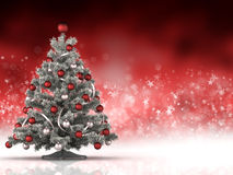Christmas tree on red and white background. Xmas tree on red and white background Royalty Free Stock Images