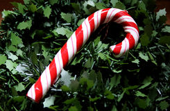 Christmas tree. Red and white rattan on the tree Royalty Free Stock Photo