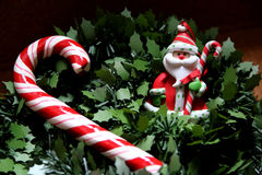 Christmas tree. Red and white rattan on the tree Royalty Free Stock Image
