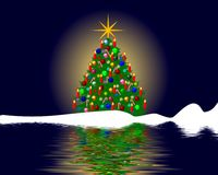 Christmas tree reflection Royalty Free Stock Photo