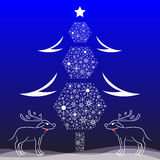 Christmas tree and reindeer antlers vector card Royalty Free Stock Photography