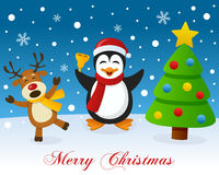 Christmas Tree, Reindeer & Cute Penguin Royalty Free Stock Images