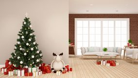 Christmas tree with reindeer doll and gift box in living room -  artwork for Christmas day - 3D Rendering stock images