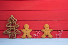 Christmas tree reindeer and gingerbread man background Royalty Free Stock Images