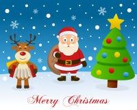 Christmas Tree, Reindeer & Santa Claus Royalty Free Stock Image