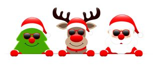 Christmas Tree Reindeer And Santa With Sunglasses Holding Horizontal Banner royalty free illustration