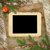 Christmas tree, and retro framework Royalty Free Stock Images