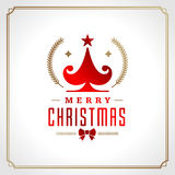 Christmas tree retro typographic and ornament Stock Image