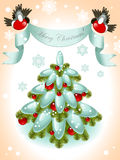 Christmas tree with ribbon Stock Images