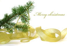Christmas tree  and ribbon Stock Photos