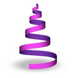 Christmas tree ribbon. Christmas tree shape illustration with violet ribbon Stock Images