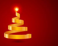 Christmas tree from ribbon with star Stock Images