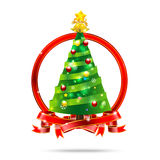 001-Christmas tree with ribbon. Christmas tree with star snow ball and ribbon  on the white background Royalty Free Stock Image