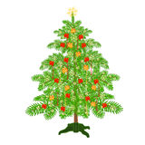 Christmas tree with ribbon vector. Christmas decoration tree with ribbon and gold  snowflakes vector illustration Stock Photo