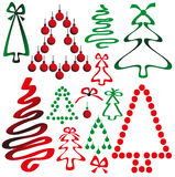 Christmas tree from ribbons and circles Royalty Free Stock Photos
