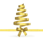 Christmas tree from  ribbons isolated Royalty Free Stock Photo
