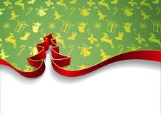 Christmas tree from ribbons isolated on white background and decorative festive background vector illustration.  Royalty Free Stock Photo