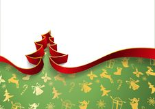 Christmas tree from ribbons isolated on white background and decorative festive background vector illustration.  Royalty Free Stock Image