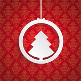 Christmas Tree Ring Red Background Ornaments Royalty Free Stock Images