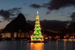 Christmas Tree in Rio de Janeiro. Rio de Janeiro, Brazil - January 6, 2016: Christmas Tree in the middle of Rodrigo de Freitas lagoon. Each year the tree is royalty free stock photo