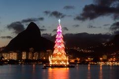 Christmas Tree in Rio de Janeiro. Rio de Janeiro, Brazil - January 6, 2016: Christmas Tree in the middle of Rodrigo de Freitas lagoon. Each year the tree is stock image