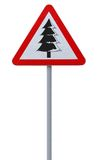 Christmas Tree Road Sign Royalty Free Stock Photo