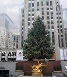 Christmas Tree At Rockefeller Center. NYC stock photo