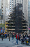 Christmas Tree in Rockefeller center being prepared for lighting Stock Photography