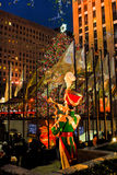 Christmas tree at Rockefeller Center, NYC. A toy soldier watches over the famous Christmas tree on display at Rockefeller Center, Manhattan, NYC royalty free stock image