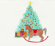 Christmas tree with a rocking horse. Royalty Free Stock Photography