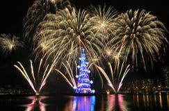 Christmas tree of Rodrigo de Freitas Lagoon royalty free stock photo