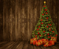 Free Christmas Tree Room Background, Wood Wall Floor Wooden Interior Royalty Free Stock Photos - 61397708