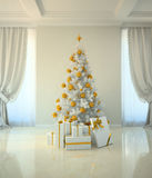 Christmas tree room in classic style Royalty Free Stock Images
