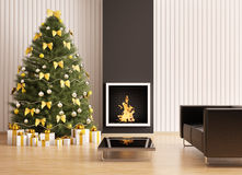 Christmas tree in room with fireplace 3d. Christmas fir tree in the modern room with fireplace interior 3d render Royalty Free Stock Images