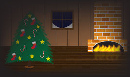 Christmas tree room. With fireplace and window Stock Photo