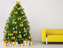 Christmas tree in the room interior 3d render vector illustration
