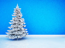 Christmas tree in the room. Near blue wall Royalty Free Stock Photo