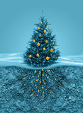 Christmas tree roots in soil beneath. Christmas tree with golden balls, roots in soil beneath royalty free illustration
