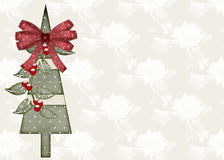 Christmas Tree on Rose Background Stock Photography