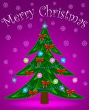 Christmas tree on rosy background Royalty Free Stock Photos