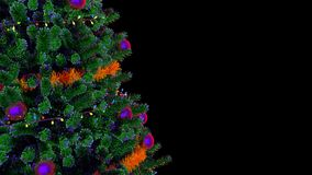 Christmas Tree Rotating Loop. Rotating Christmas tree, looped video footage with an alpha channel. Ideal for decoration of any holiday or Christmas projects stock illustration