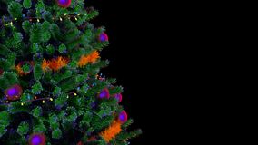 Christmas Tree Rotating Loop. Rotating Christmas tree, looped video footage with an alpha channel. Ideal for decoration of any holiday or Christmas projects vector illustration