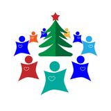 Christmas tree. Round dance. Abstraction on a white background. Vector illustration Royalty Free Stock Photography