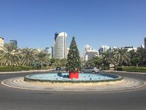 Christmas Tree. In a roundabout in Dubai Stock Photos